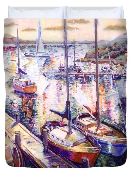 Duvet Cover featuring the painting Sailboats by Stan Esson