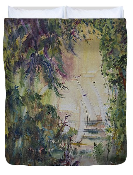 Sailboats Through The Trees Duvet Cover by Avonelle Kelsey