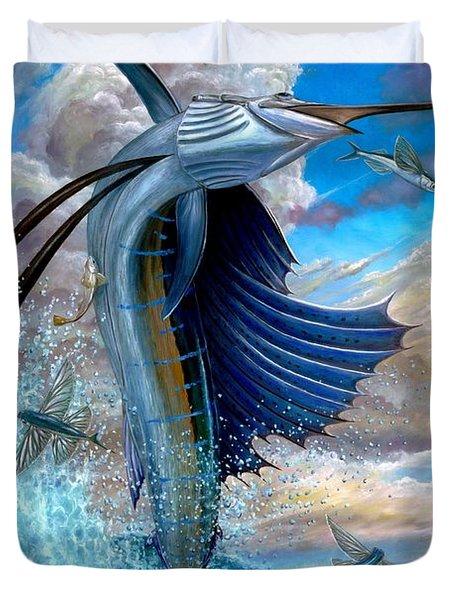 Sailfish And Flying Fish Duvet Cover