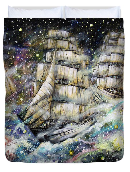 Sailing Among The Stars Duvet Cover