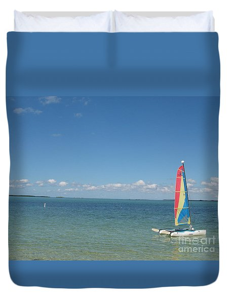 Duvet Cover featuring the photograph Sailing  At Key Largo by Christiane Schulze Art And Photography