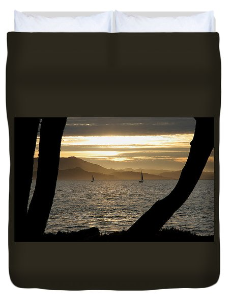 Sailing At Sunset On The Bay Duvet Cover by Robert Woodward