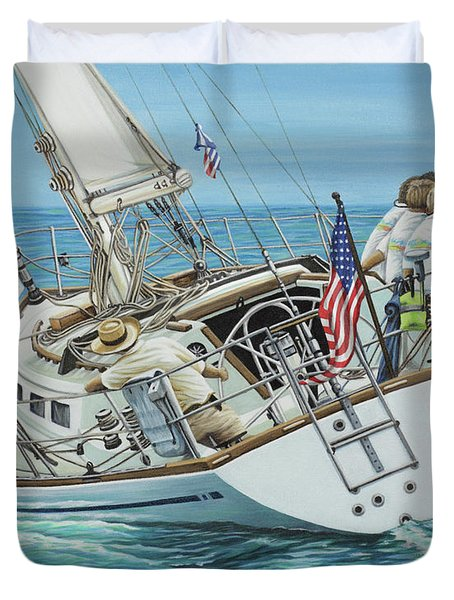 Duvet Cover featuring the painting Sailing Away by Jane Girardot