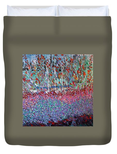 Sailing Among The Flowers Duvet Cover