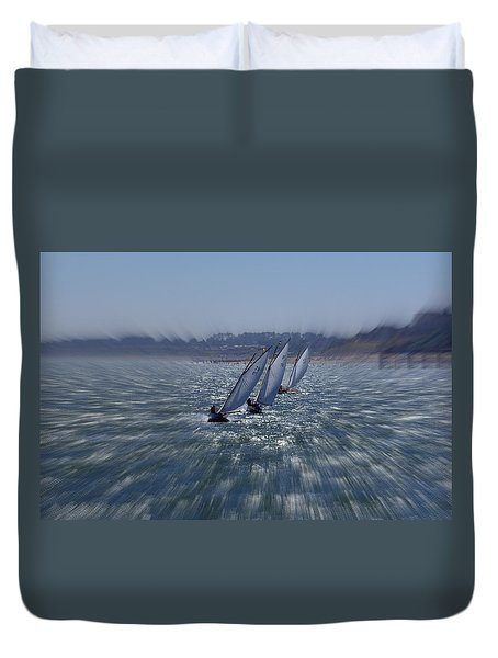 Sailing Boats Racing Duvet Cover