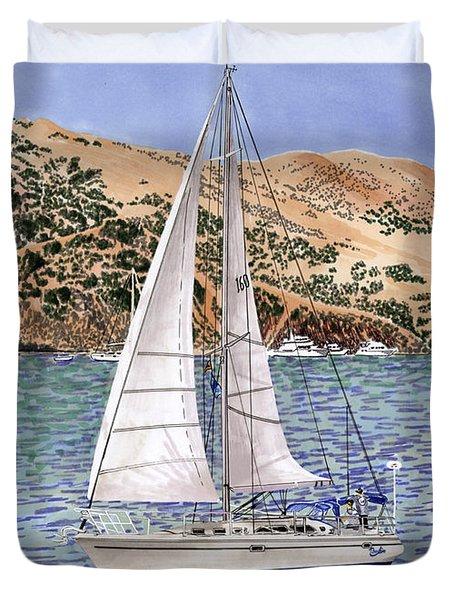 Sailing Catalina Island Sailing Sunday Duvet Cover by Jack Pumphrey