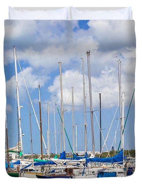 Duvet Cover featuring the photograph Sailing Club Marina 1 by Leigh Anne Meeks