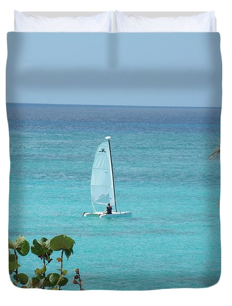 Duvet Cover featuring the photograph Sailing by David S Reynolds
