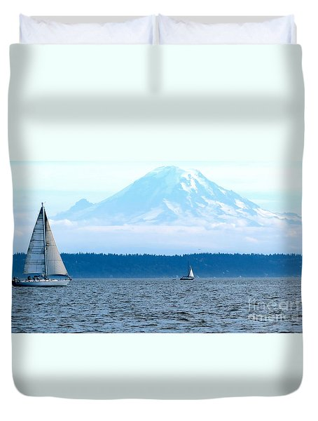 Sailing In Mt. Rainier's Shadow Duvet Cover