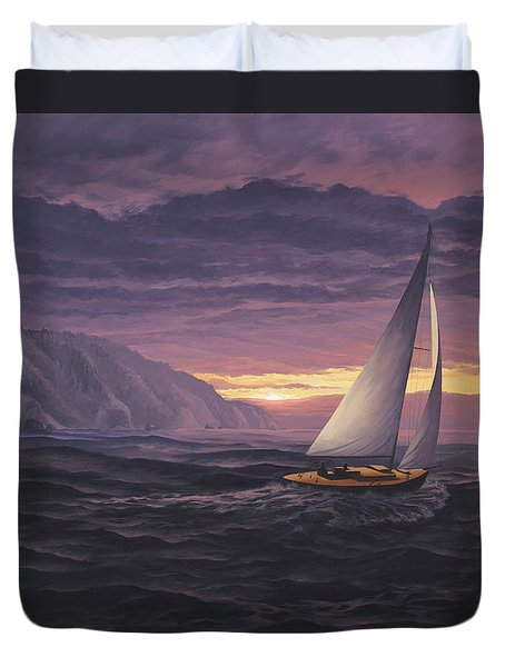 Sailing In Paradise - Big Sur Duvet Cover