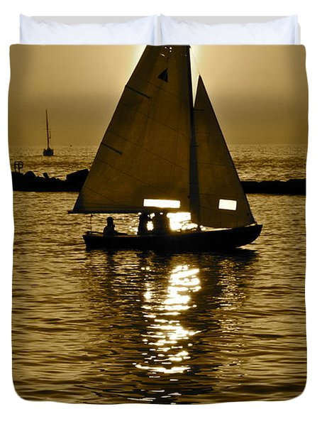 Sailing In Sepia Duvet Cover by Frozen in Time Fine Art Photography