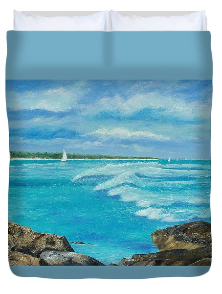 Duvet Cover featuring the painting Sailing In The Bay by Susan DeLain