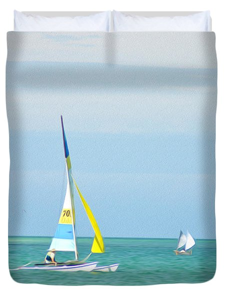 Sailing In The Gulf Of Mexico Duvet Cover by Bill Cannon