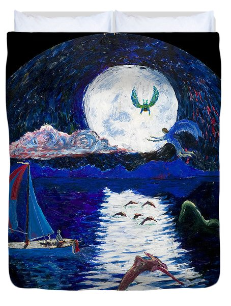 Sailing In The Moonlight Duvet Cover