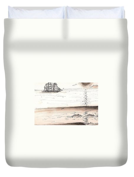 Sailing Into The Past Duvet Cover