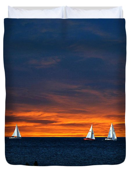 Sailing Into The Sunset Duvet Cover