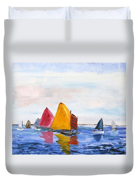 Sailing Nantucket Sound Duvet Cover by Michael Helfen