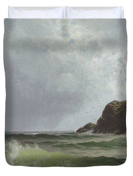 Sailing Off The Coast Duvet Cover by Alfred Thompson Bricher