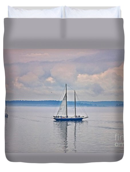 Duvet Cover featuring the photograph Sailing On A Misty Morning Art Prints by Valerie Garner