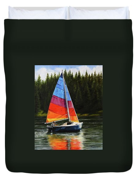Sailing On Flathead Duvet Cover by Kim Lockman