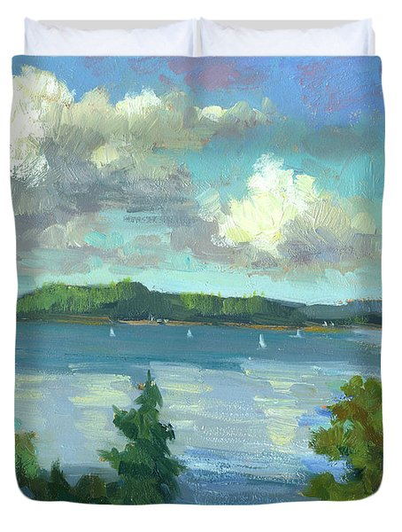 Sailing On Puget Sound Duvet Cover by Diane McClary