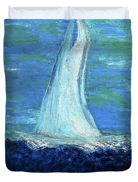 Sailing On The Blue Duvet Cover by Dick Bourgault