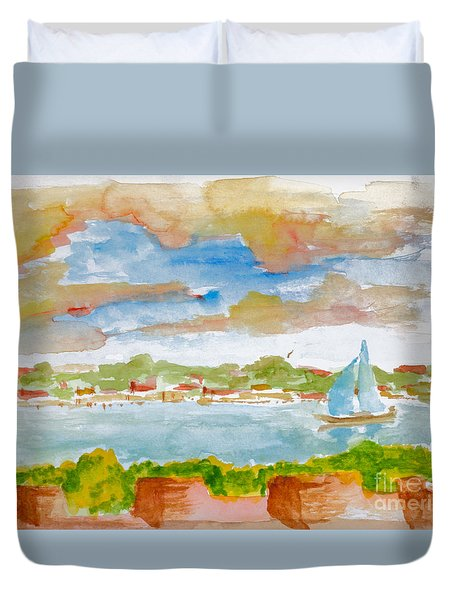 Sailing On The River Duvet Cover
