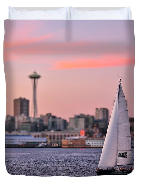 Sailing Puget Sound Duvet Cover by Adam Romanowicz