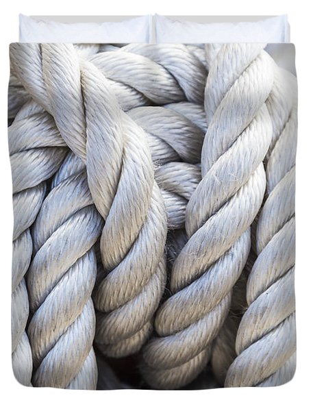 Duvet Cover featuring the photograph Sailing Rope 1 by Leigh Anne Meeks