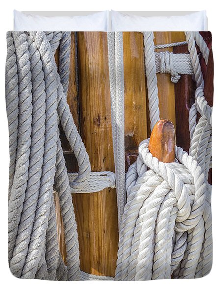 Duvet Cover featuring the photograph Sailing Rope 4 by Leigh Anne Meeks