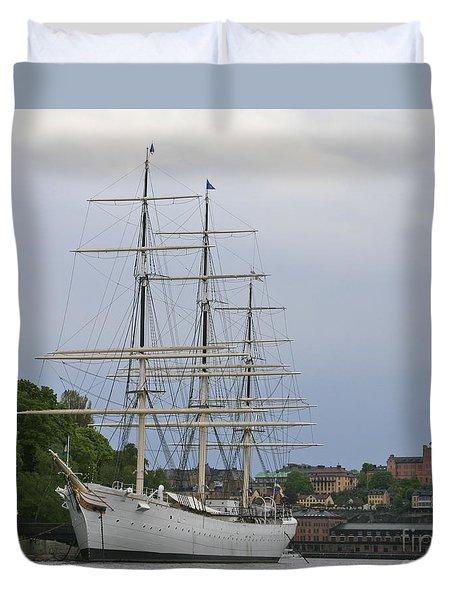 Sailing Ship In Harbor Duvet Cover