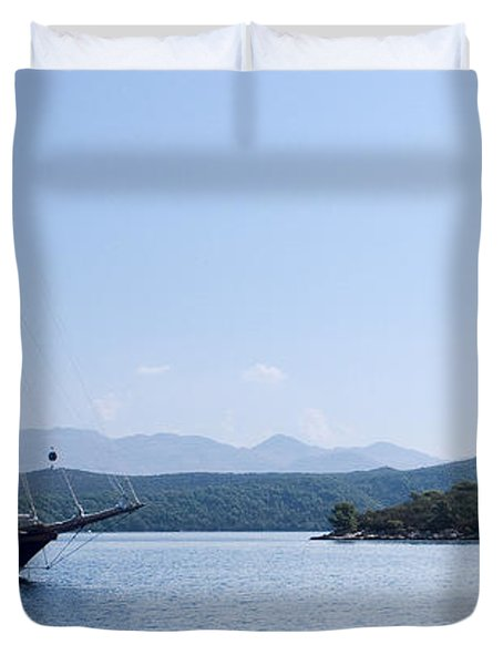 Sailing Ship In The Adriatic Islands Duvet Cover