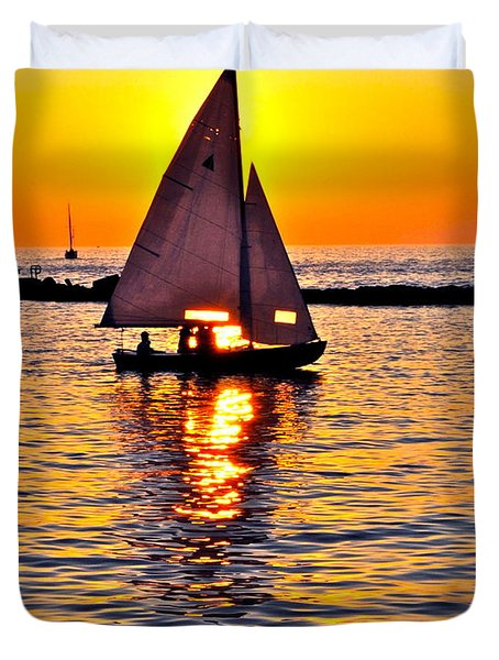 Sailing Silhouette Duvet Cover by Frozen in Time Fine Art Photography