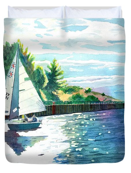 Duvet Cover featuring the painting Sailing The Channel by LeAnne Sowa
