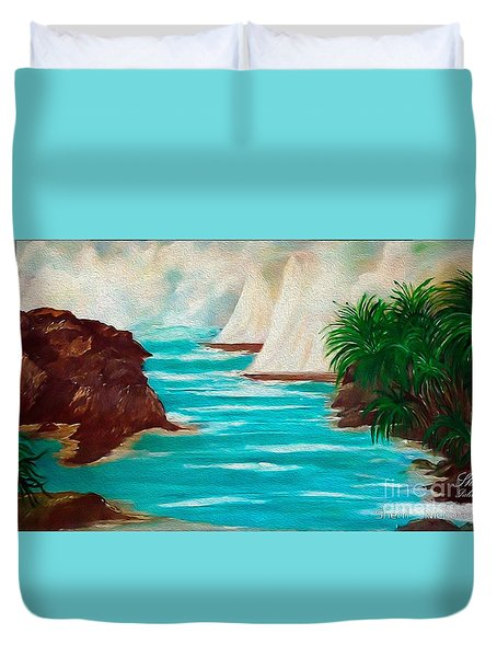 Sailing The Coast Of California Duvet Cover