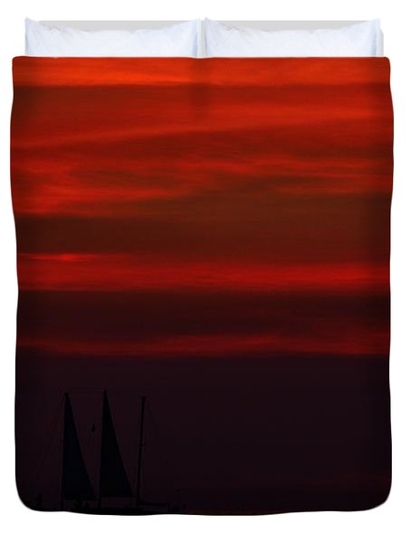 Duvet Cover featuring the photograph Sailing Through The After Glow by Richard Zentner