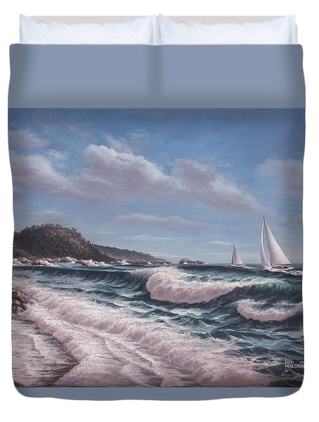 Sailing Toward Point Lobos Duvet Cover