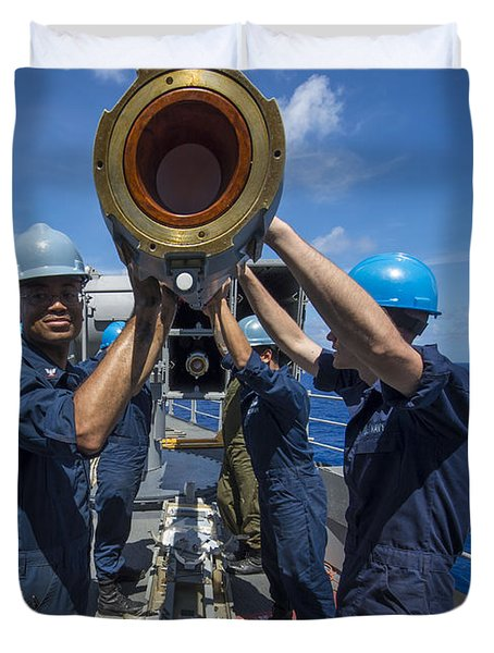 Sailors Load Rim-7 Sea Sparrow Missiles Duvet Cover by Stocktrek Images