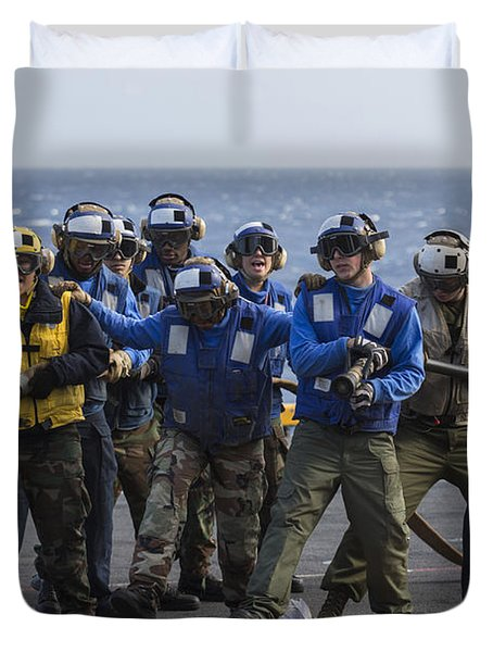 Sailors Practice Firefighting Duvet Cover