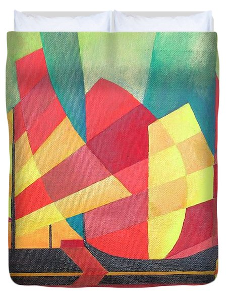 Duvet Cover featuring the painting Sails And Ocean Skies by Tracey Harrington-Simpson