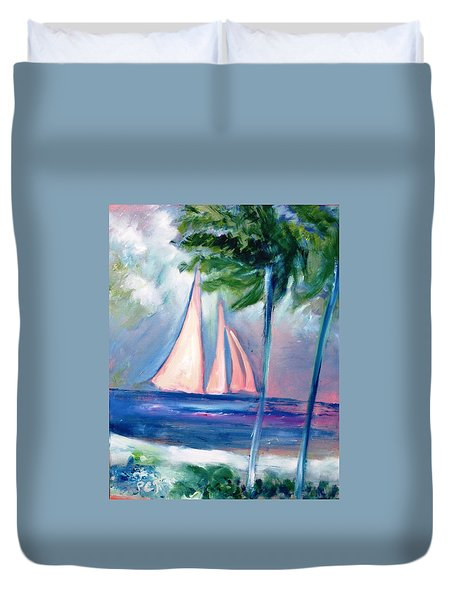 Sails In The Sunset Duvet Cover by Patricia Taylor
