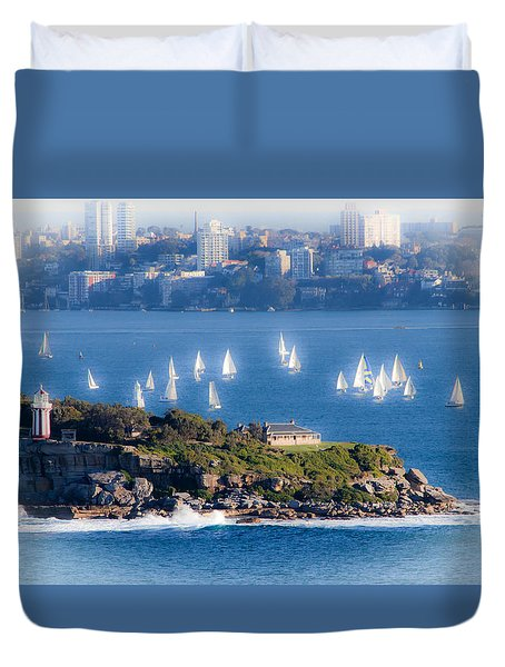 Duvet Cover featuring the photograph Sails Out To Play by Miroslava Jurcik