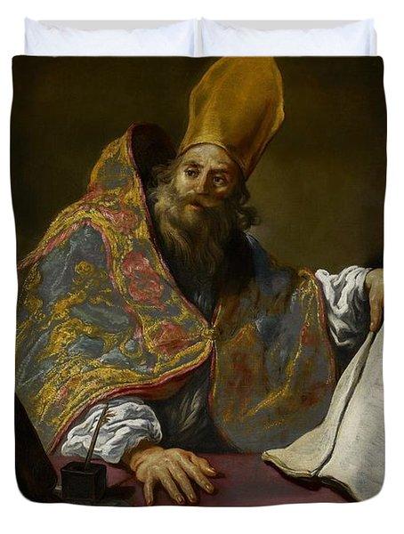 Saint Ambrose Duvet Cover by Claude Vignon