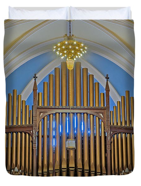 Saint Bridgets Pipe Organ Duvet Cover by Susan Candelario