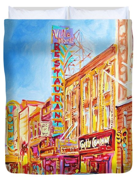 Duvet Cover featuring the painting Saint Catherine Street Montreal by Carole Spandau