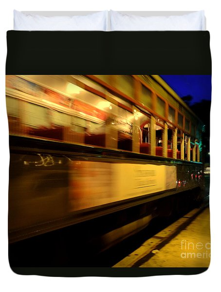 New Orleans Saint Charles Avenue Street Car In  Louisiana #7 Duvet Cover by Michael Hoard