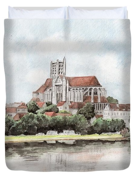 Duvet Cover featuring the painting Saint-etienne A Auxerre by Marc Philippe Joly