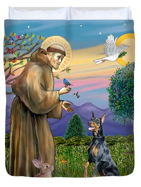 Saint Francis And Doberman Pinscher Duvet Cover