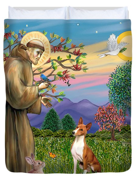 Saint Francis Blesses A Basenji Duvet Cover