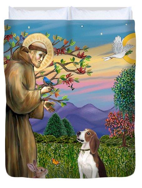 Saint Francis Blesses A Beagle Duvet Cover